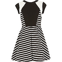 Girls stripe blocked print skater dress