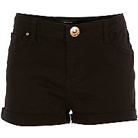 Girls black denim hipster shorts