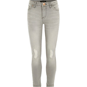 Girls grey mid wash ripped jeans