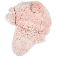 Girls pink faux fur traper hat