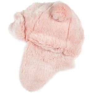 Girls pink faux fur traper hat