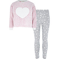 Girls pink heart pyjama set