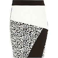 Girls black animal print tube skirt