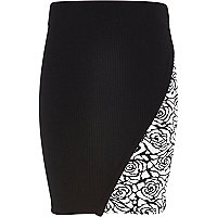 Girls black rose print wrap tube skirt