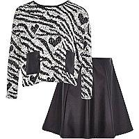 Girls black zebra sweat and skater skirt set