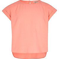Girls coral dipped hem short sleeve top