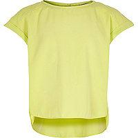 Girls lime dipped hem short sleeve top