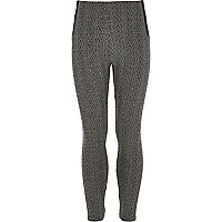 Girls black tweed leggings