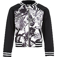 Girls black printed floral bomber jacket