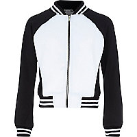 Girls black and white block bomber jacket