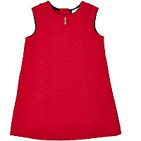 Mini girls red fit and flare dress