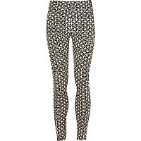 Girls black tile jacquard print leggings
