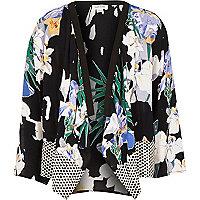 Girls black floral print kimono