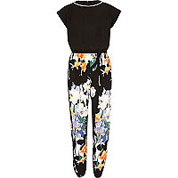 Girls black floral sporty jumpsuit