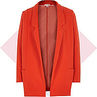 Girls red textured jersey swagger jacket
