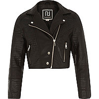 Girls black leather-look cropped biker jacket