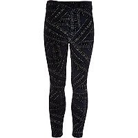 Girls navy velvet glitter leggings