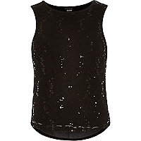 Girls black sequin lace chiffon top