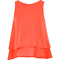 Girls orange double layer chiffon top