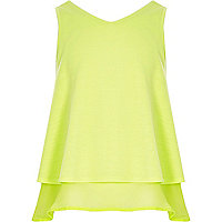 Girls lime green double layer chiffon top
