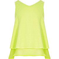 Girls lime green double layer chiffon top