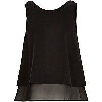 Girls black double layer chiffon top