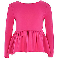 Girls pink peplum top