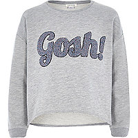 Girls grey long sleeve gosh sweatshirt