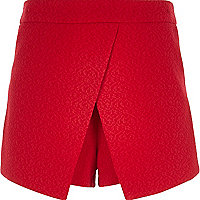 Girls red crepe textured skort