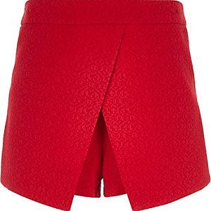 Girls red crepe textured skort
