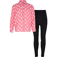Girls pink spot shirt and legging set