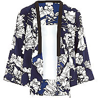 Girls blue floral kimono and white cami set