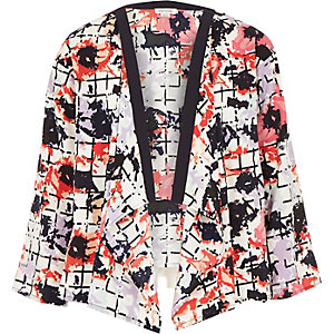Girls red floral grid print kimono
