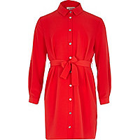 Girl red long sleeve belted shirt dress