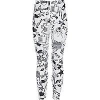 Girls white doodle print leggings