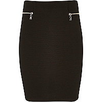 Girls black textured zip skirt