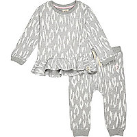 Mini girls leopard grey top and legging set