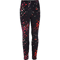 Girls black smudge print trousers