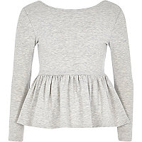 Girls grey peplum top