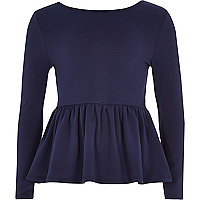 Girls navy peplum top