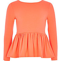 Girls coral peplum top