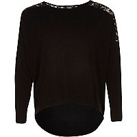 Girls black lace insert slouch top