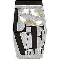 Girls grey love print tube skirt