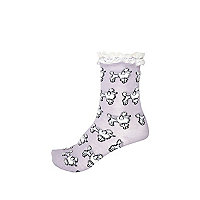 Girls purple frill top poodle socks