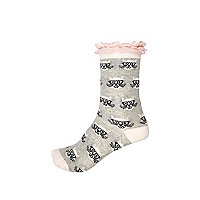 Girls grey cat print lace frill socks