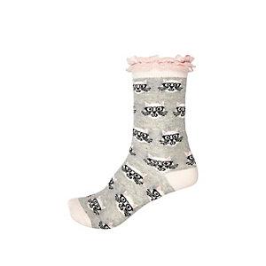 Girls grey cat print lace frill socks