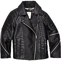 Mini girls black leather-look biker jacket