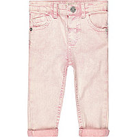Mini girls pink acid wash denim skinny jeans