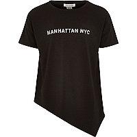 Girls black asymmetric Manhattan NY t-shirt