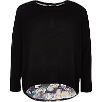 Girls black floral chiffon back top